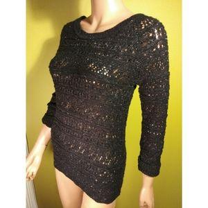 NWT Soft metallic open loose knit sweater crochet